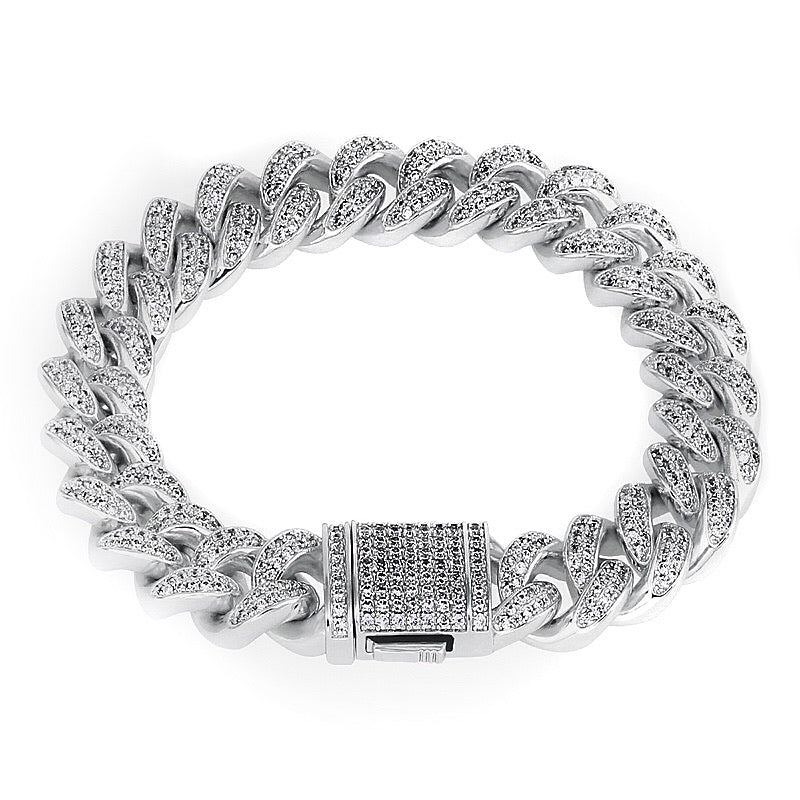 Miami Iced Out Cuban Link Bracelet White Gold (8mm)