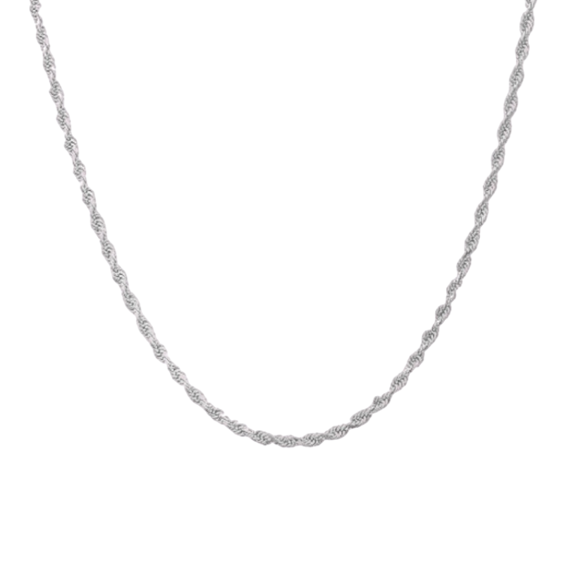 Rope Chain Necklace 14K White Gold (3mm)