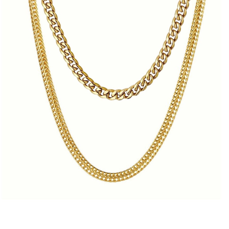 Miami Petite Cuban Link Chain/Franco Gold Stack Set