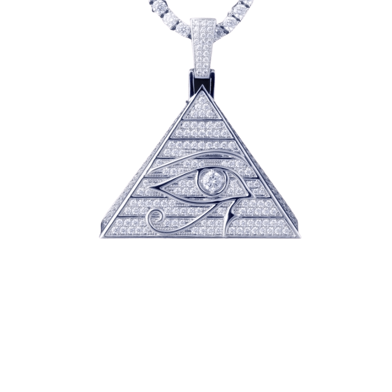 Sterling Silver Eye of Horus Pyramid Pendant