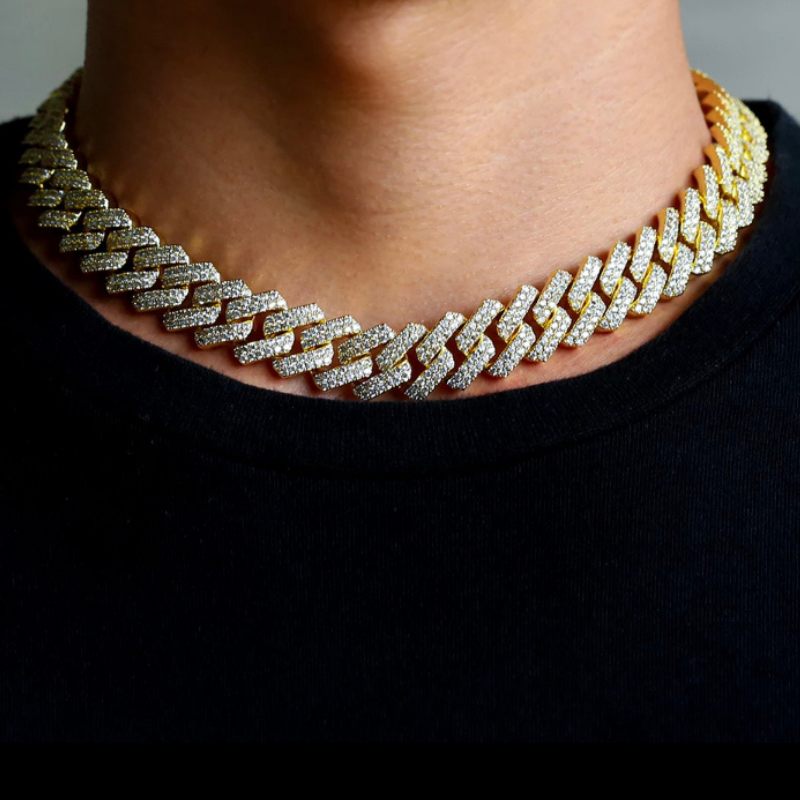 Iced Out Prong Cuban Link Chain 14K Gold (12mm)