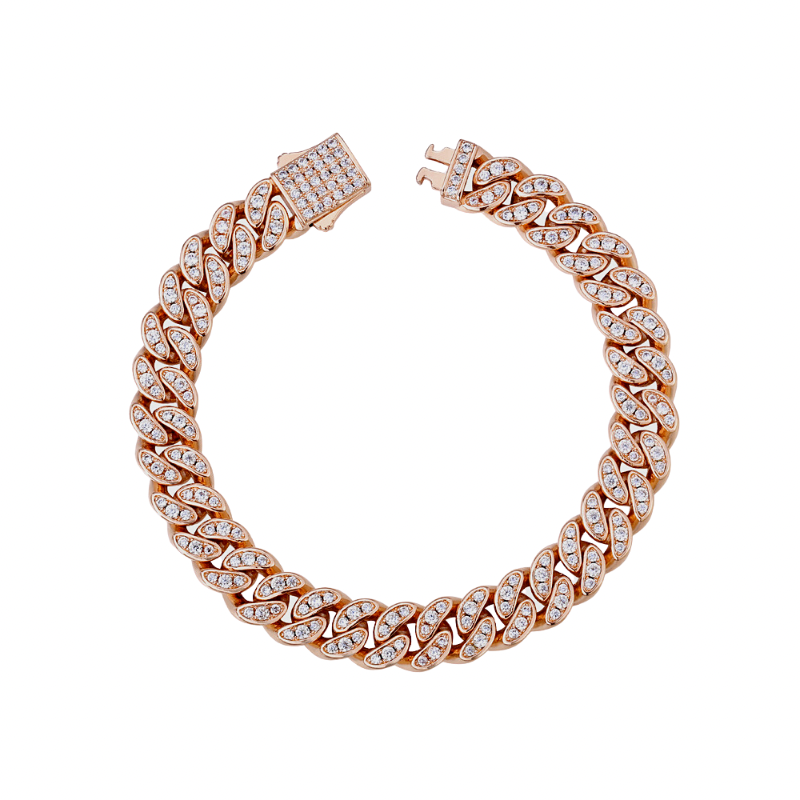 Miami Iced Cuban Link Bracelet Rose Gold w/CZ Stones (8mm)