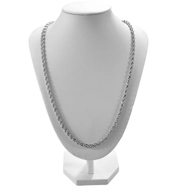 White Gold Plated Rope Chain Necklace-Frosty Chainz-Frosty Chainz