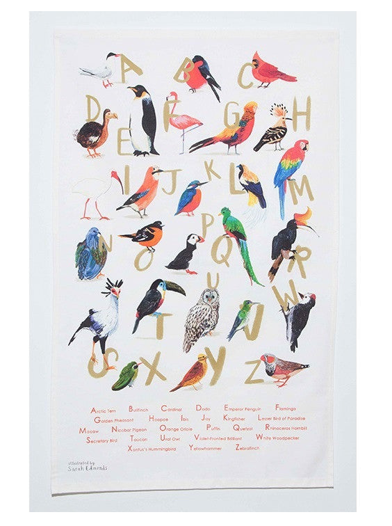 Avian Alphabet Tea Towel by Sarah Edmonds