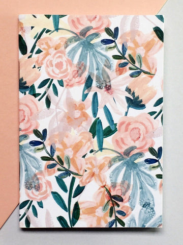 Orange Floral Patterned Pocket A6 Notebook