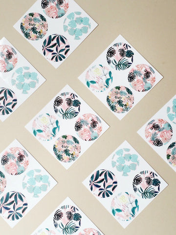 Patterned plant sticker pack - assorted patterned stickers