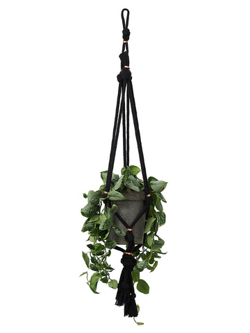 Black cotton macramé plant hanger with copper trim by Cocoon & me