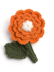 Homegrown Crochet Flower Brooch Zinnia  from What You Sow