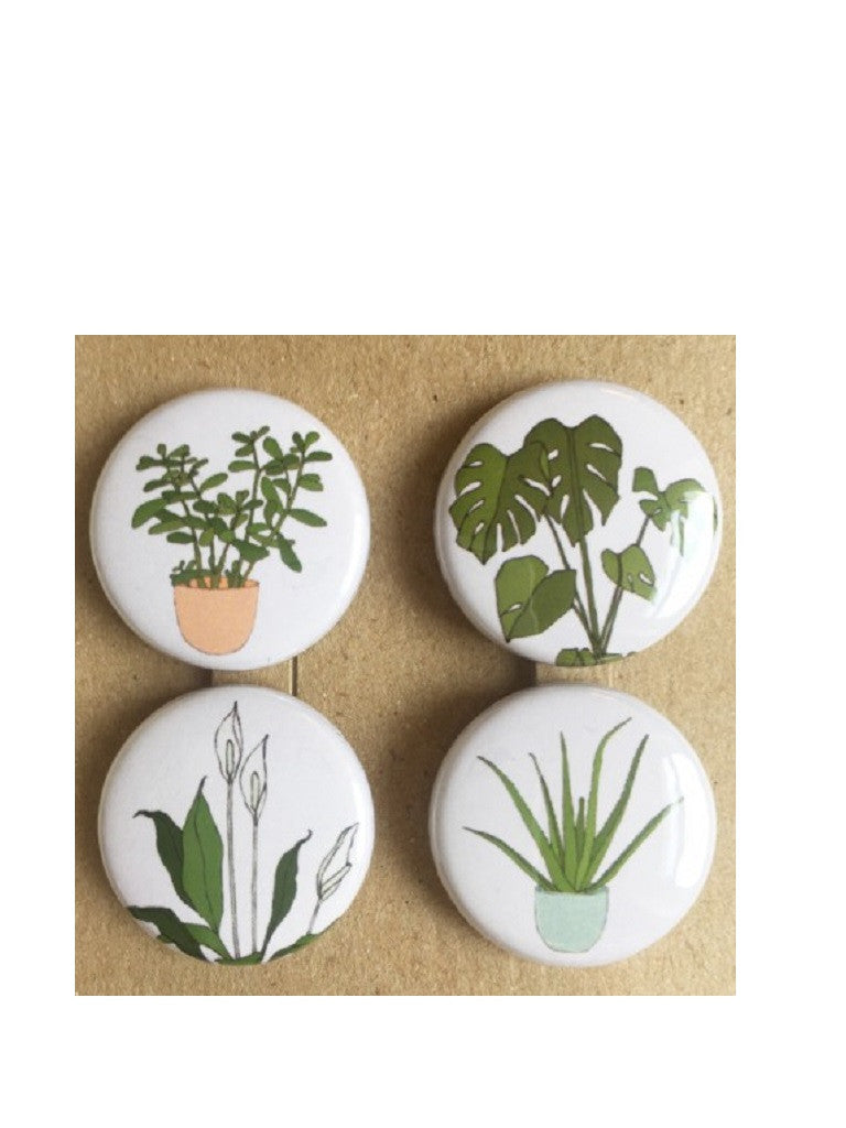 Houseplant badges set of 4 by Kate Broughton