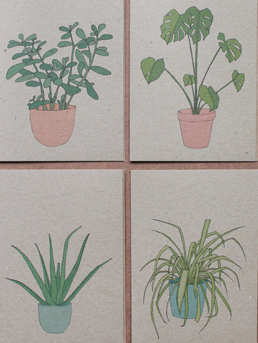 Houseplant cards (set of 4)