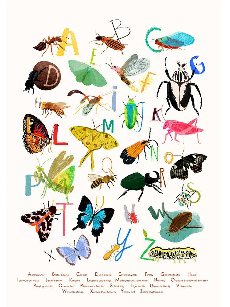 A4 Giclée print Insectabet by Sarah Edmonds at What You Sow