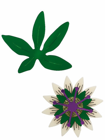 Passionflower Brooch set by Lou Taylor