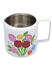 Enamel Milk jug with hand painted flowers by What You Sow