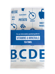 Vitamins and Minerals Tea Towel. Lahla Studio at What You Sow.