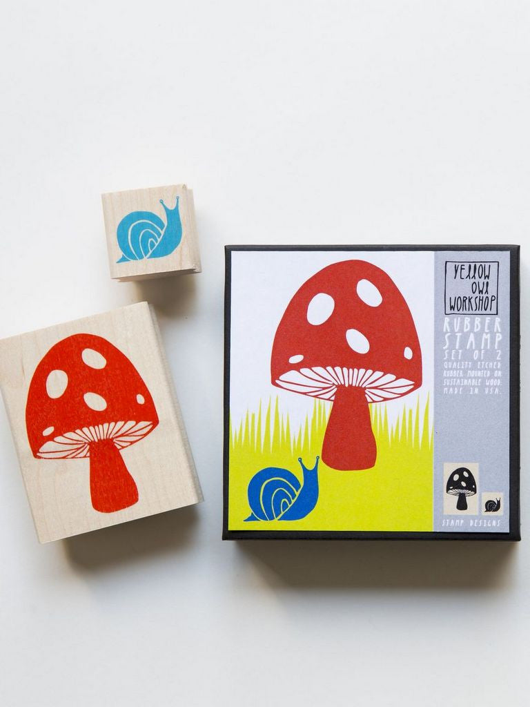 Mushroom and snail Stamp set by Yellow Owl Workshop