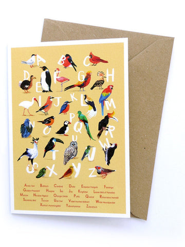 Avian Alphabet Greetings Card by Sarah Edmonds