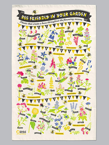 Bee Friendly organic cotton tea towel