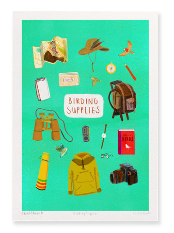 A4 Giclée print Birding Supplies by Sarah Edmonds