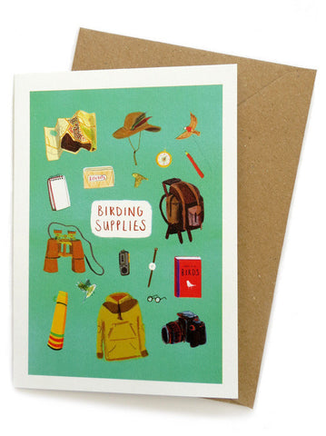 Birding Supplies Greetings card by Sarah Edmonds