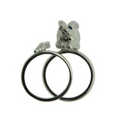 Bunny & Carrot Rings - Sterling Silver set with Blue Sapphire. Rock Cakes jewellery at What You Sow.