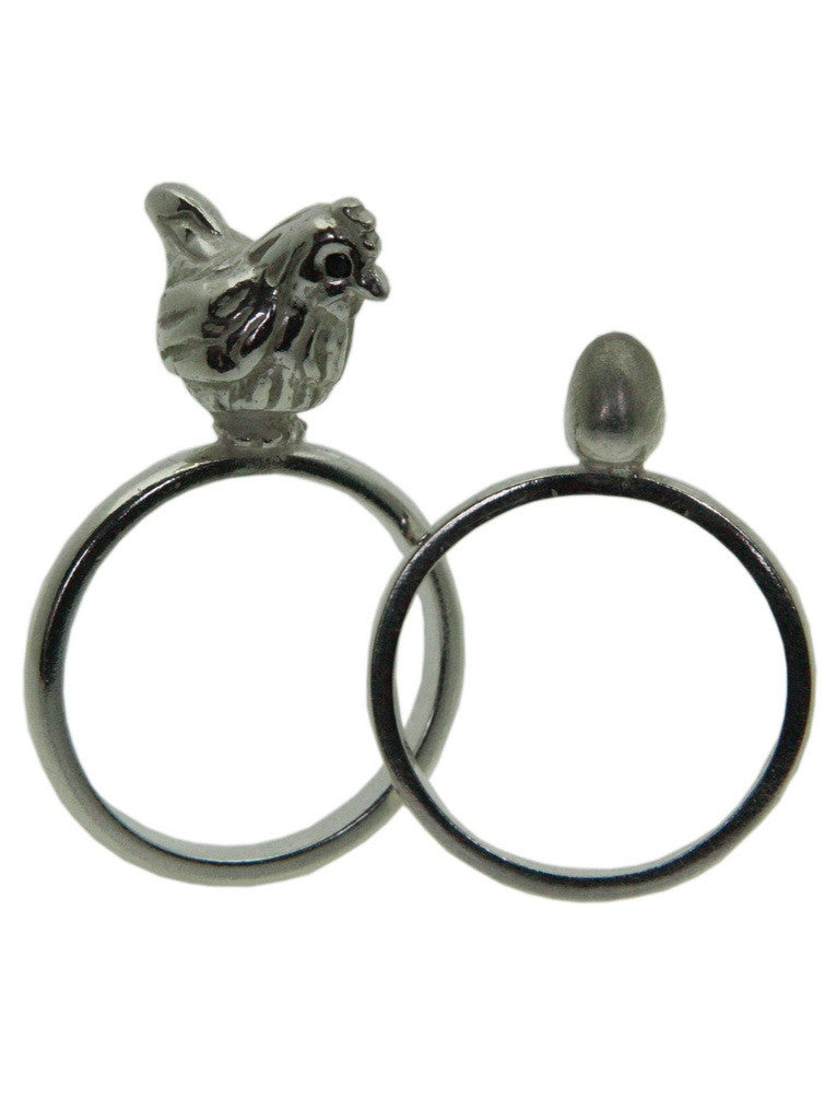 Chicken and Egg Ring set - Sterling Silver  with Black Diamonds. Rock Cakes jewellery at What You Sow.