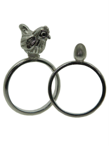 Chicken and Egg Ring set - Sterling Silver with Black Diamonds