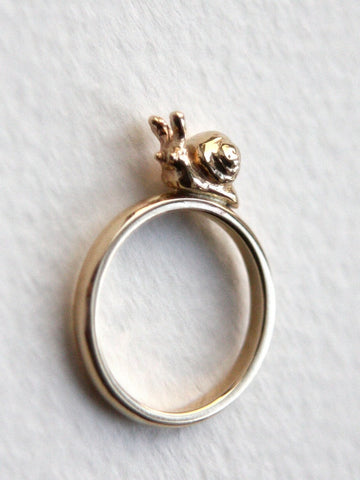9ct Yellow Gold Handmade Snail Ring