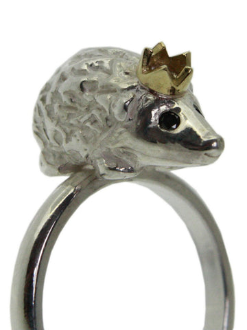 Sterling Silver Hedgehog Ring with Black Diamond eyes & Gold Crown