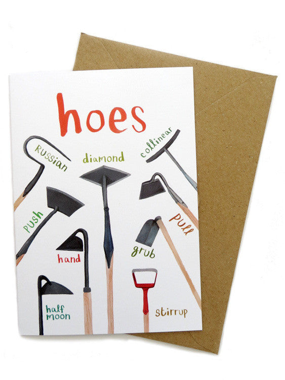 Hoes Greetings card by Sarah Edmonds at What You Sow