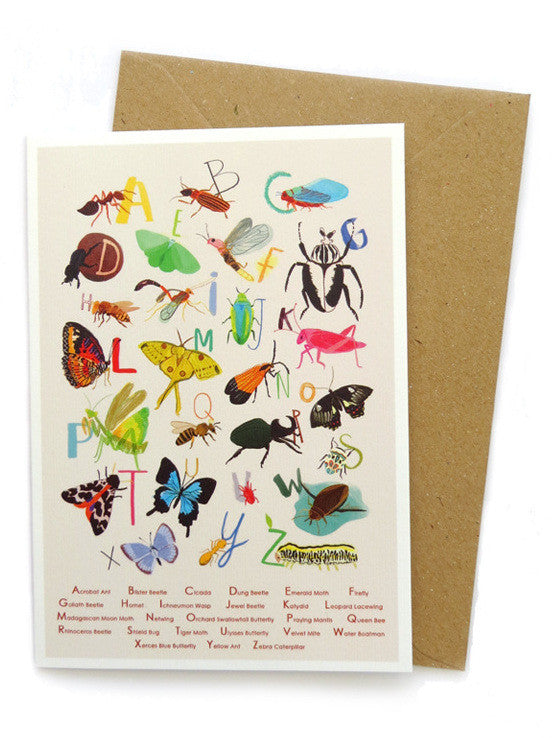 Insectabet Greetings card by Sarah Edmonds at What You Sow