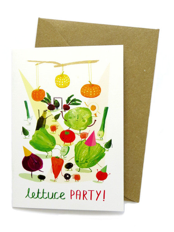 Lettuce Party Greetings Card by Sarah Edmonds at What You Sow
