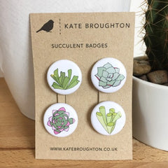 Succulent badges by Kate Broughton at What You Sow
