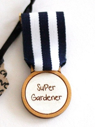 Super Gardener handmade medal at What You Sow