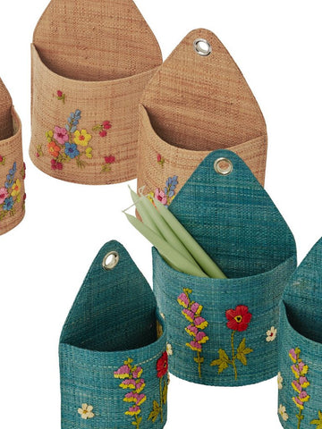 Wall Hanging Raffia Baskets with Flower Embroidery (Set of 3)