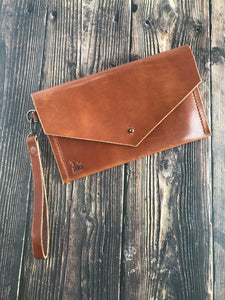 Envelope Clutch - Buck Brown Harness Leather - Wrist Strap