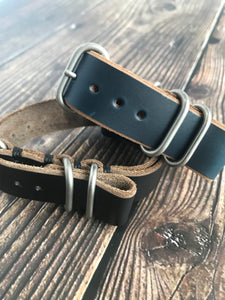 NATO Strap - Horween Chromexcel - 20mm - Navy - Brushed Nickel Hardware