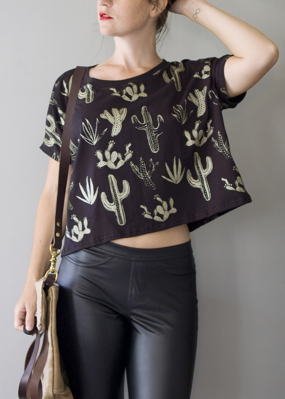 Golden Cactus - Box Cropped tshirt - American Milled Fabric