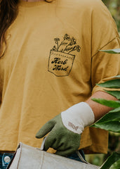 Herb Nerd - Vintaged Cropped Tee in Chamomile