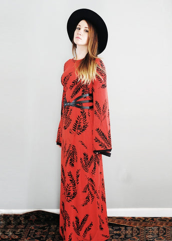 Keen Alchemist Dress - In Cherry - American Milled Fabric- Bell Sleeved Maxi Dress