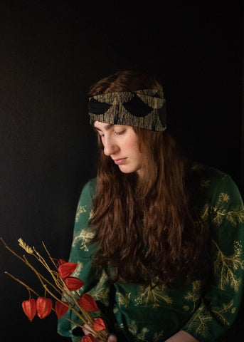 Skadi Turban - Organic - Pine and Metallic Gold