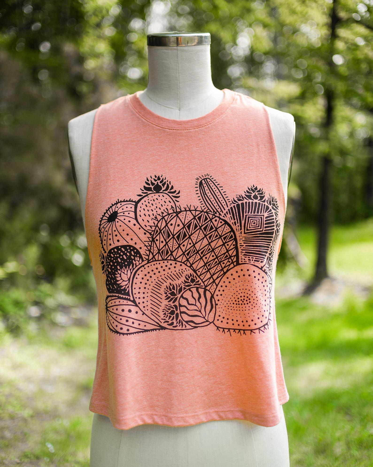 Happy Cactus - cropped racerback tank in creamsicle