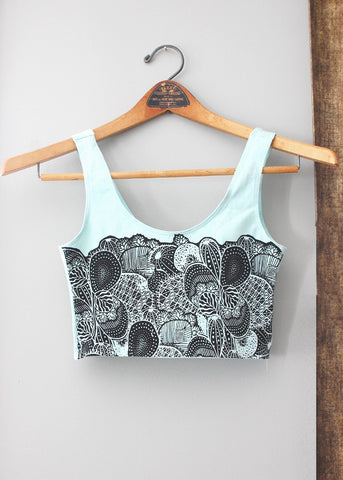Cactus Garden - Menthe and Black Bra Top