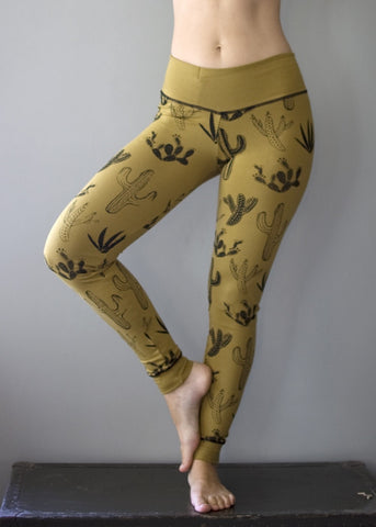 Cactaceae Legging - honey and black with hidden pocket