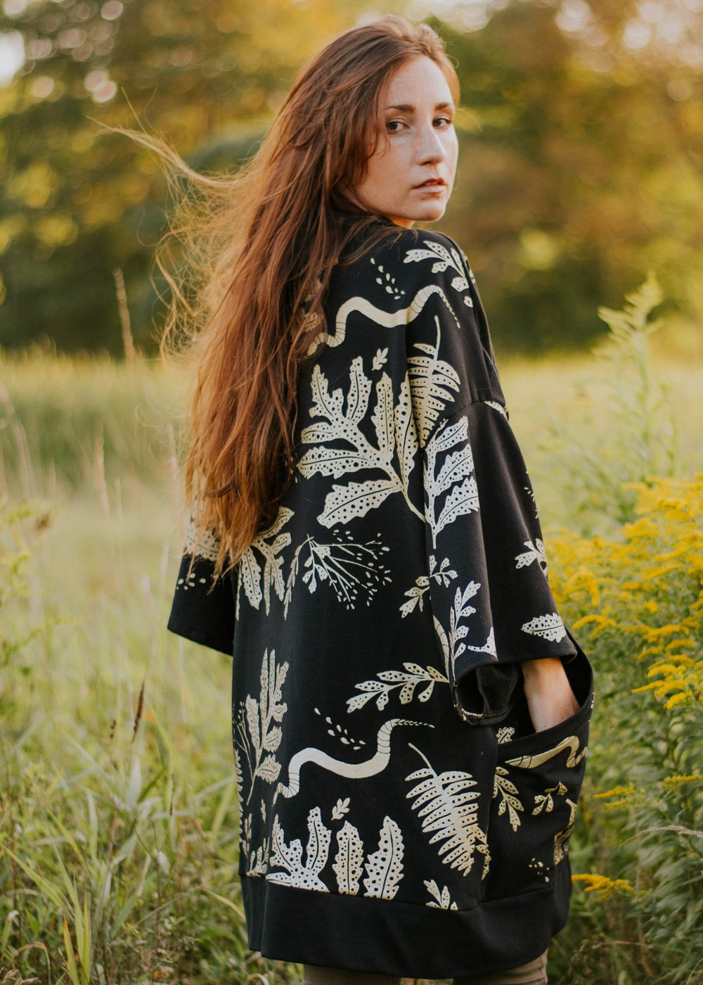 The Tapestry Tunic - Oversized Robe Cardigan in Metallic Gold