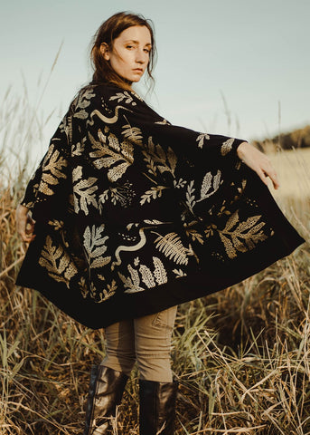 The Tapestry Tunic - Oversized Kimono Cardigan in Metallic Gold