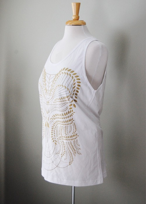 Womens Plus - Eden Tank - Gold and White