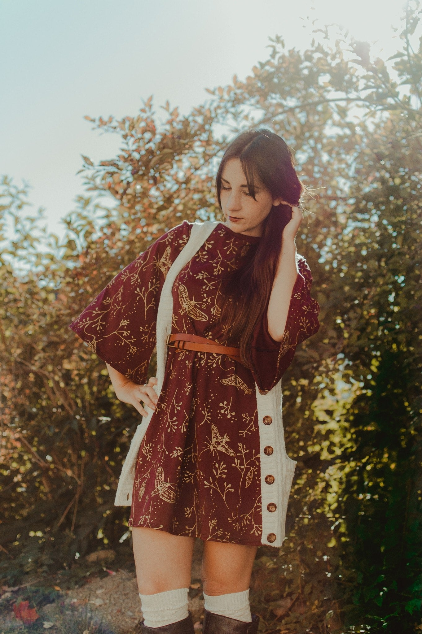 Hawk Moth Dress- In Garnet - w/ pockets