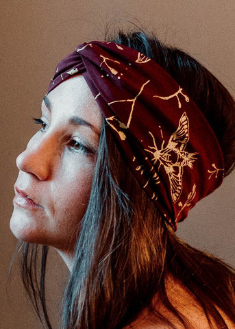 Hawk Moth Turban - Organic - Garnet and Metallic Gold