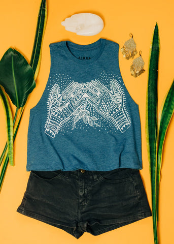 Heart Chakra - cropped racerback tank in Ice Pop