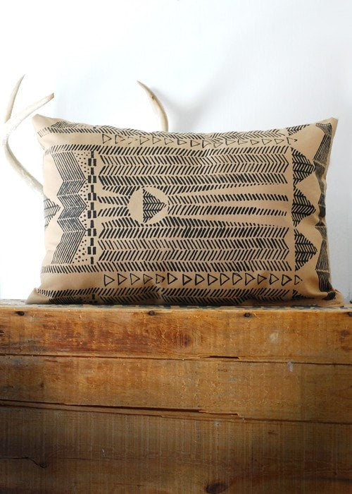 Going Hunting Pillow Cover- Black and Cornstalk
